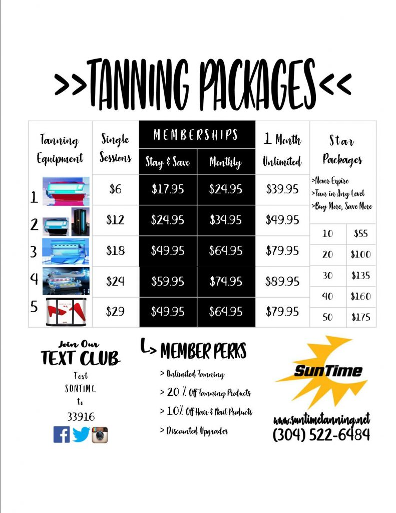 Packages Sun Time Tanning Hair Nails
